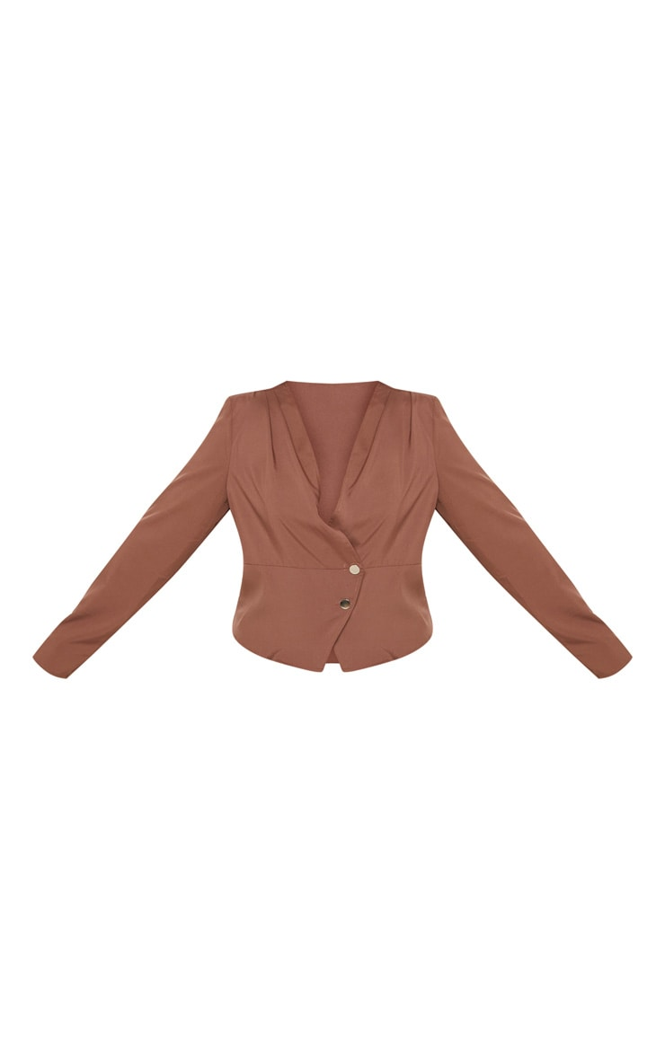 Plus Chocolate Brown Draped Button Detail Blouse 3