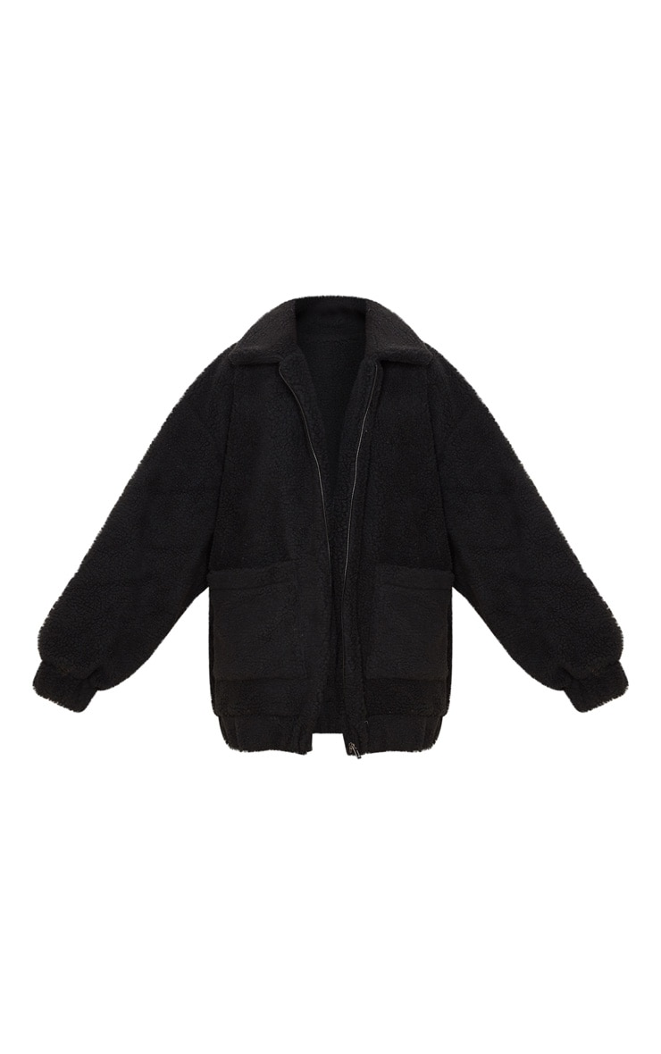 Black Oversized Borg Pocket Front Coat 3