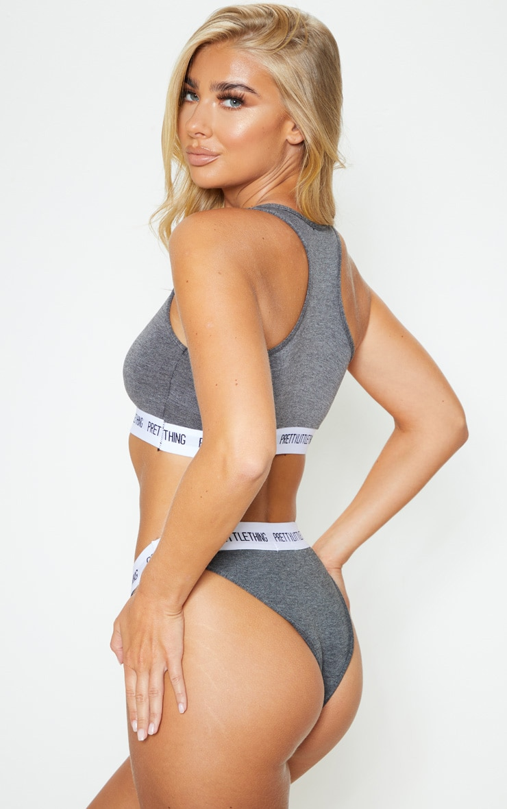 PRETTYLITTLETHING Charcoal Sports Bra 2