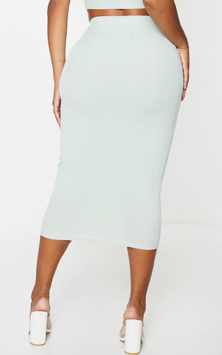 Shape Sage Khaki Bandage High Waist Midi Skirt 3
