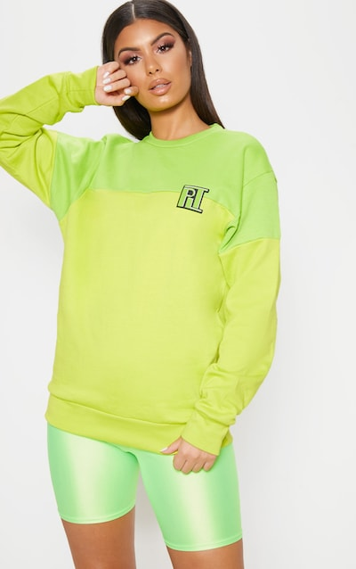 720d104211 PLT Neon Lime Two Tone Oversized Sweater