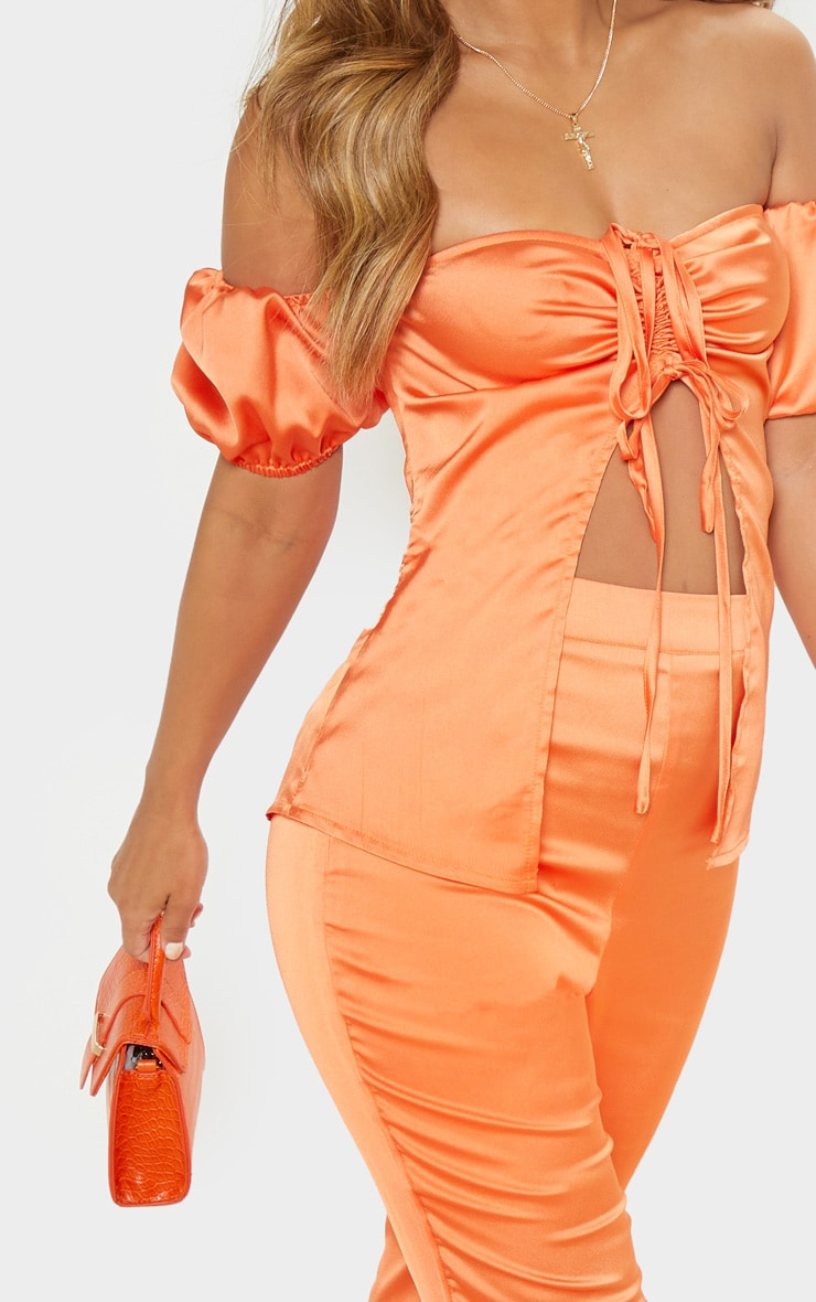 Petite Peach Satin Ruched Open Front Top  5