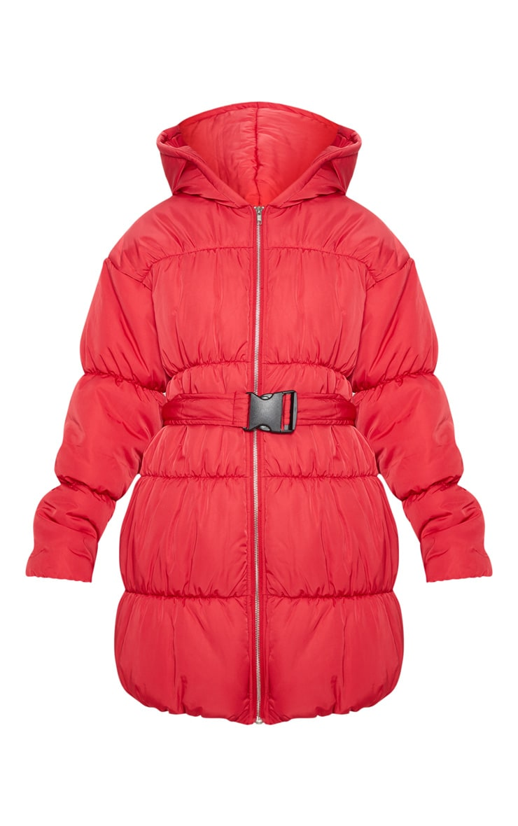 Red Belted Puffer Jacket 3