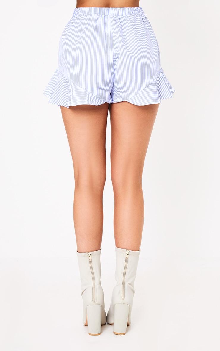 Charise Blue Pinstripe Frill Hem Shorts 3