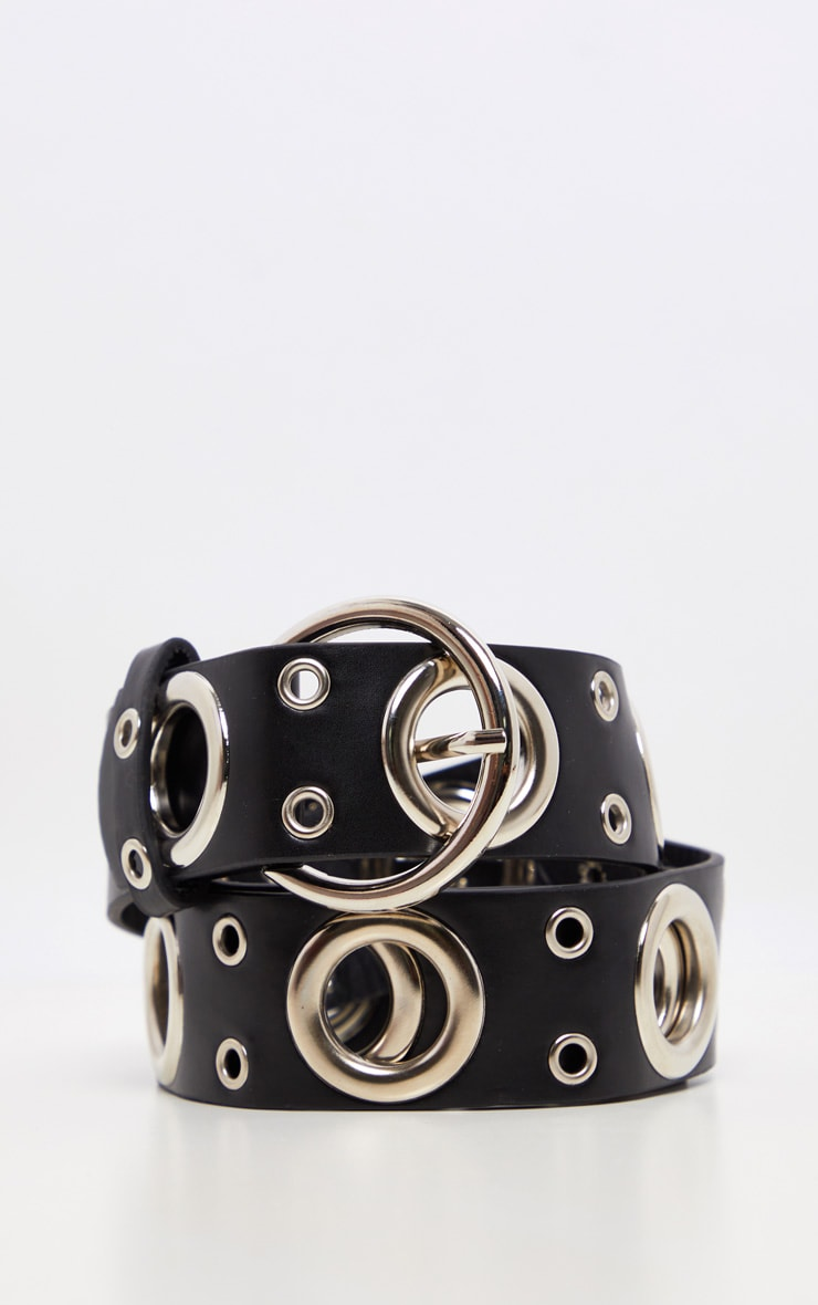 Black Silver Ring Detail Waist Belt 3