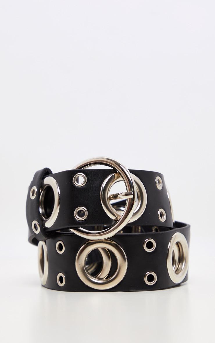 Black Silver Ring Detail Waist Belt 3