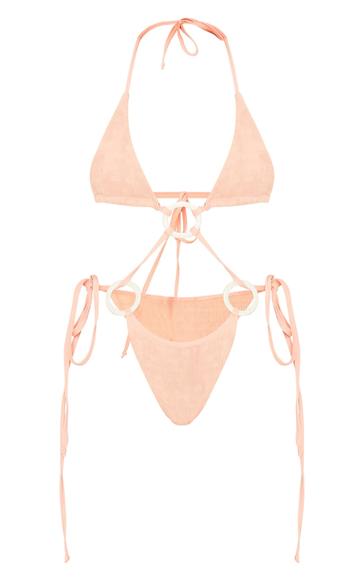 Peach Crinkle Ring Strappy Bikini Top 5