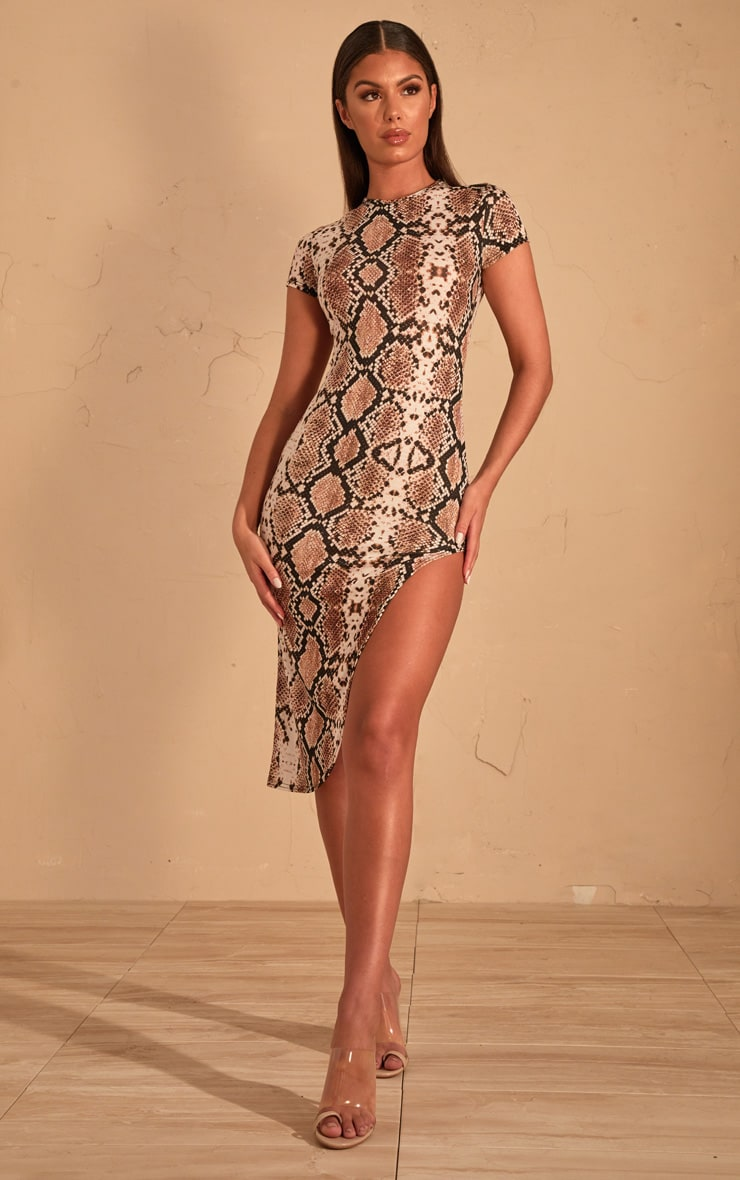 Beige Snake Print Extreme Split Cap Sleeve Midi Dress