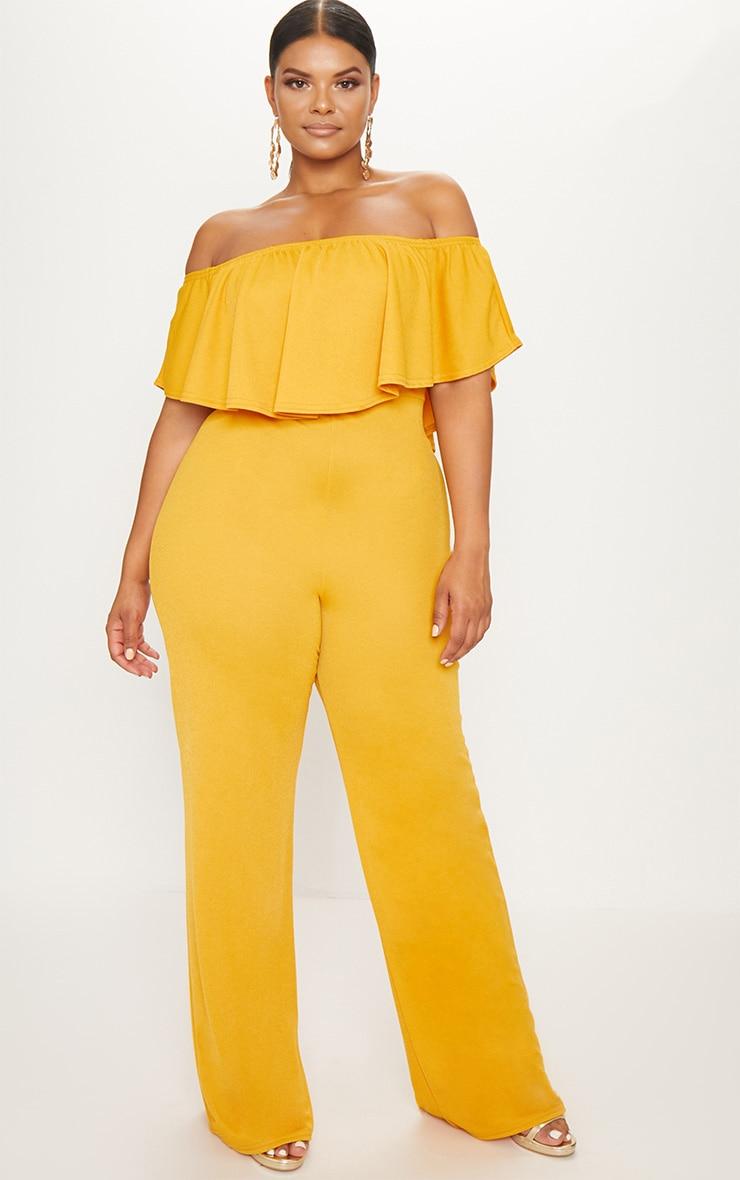 Plus Mustard Bardot Frill Culotte Jumpsuit 1