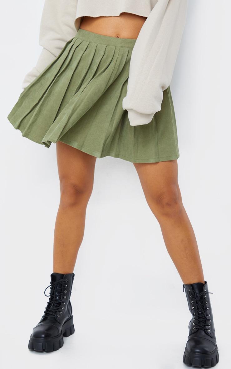 Khaki Cord Pleated Skater Skirt 2