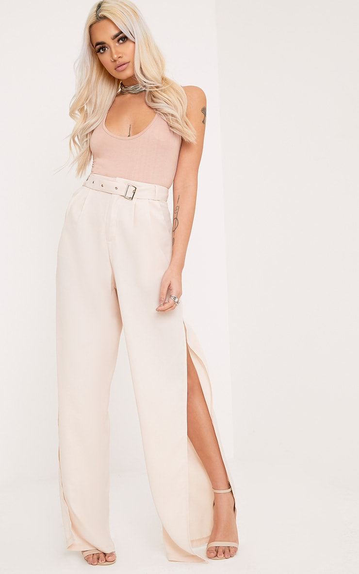 Zaria Nude Belt Side Split Trousers 1