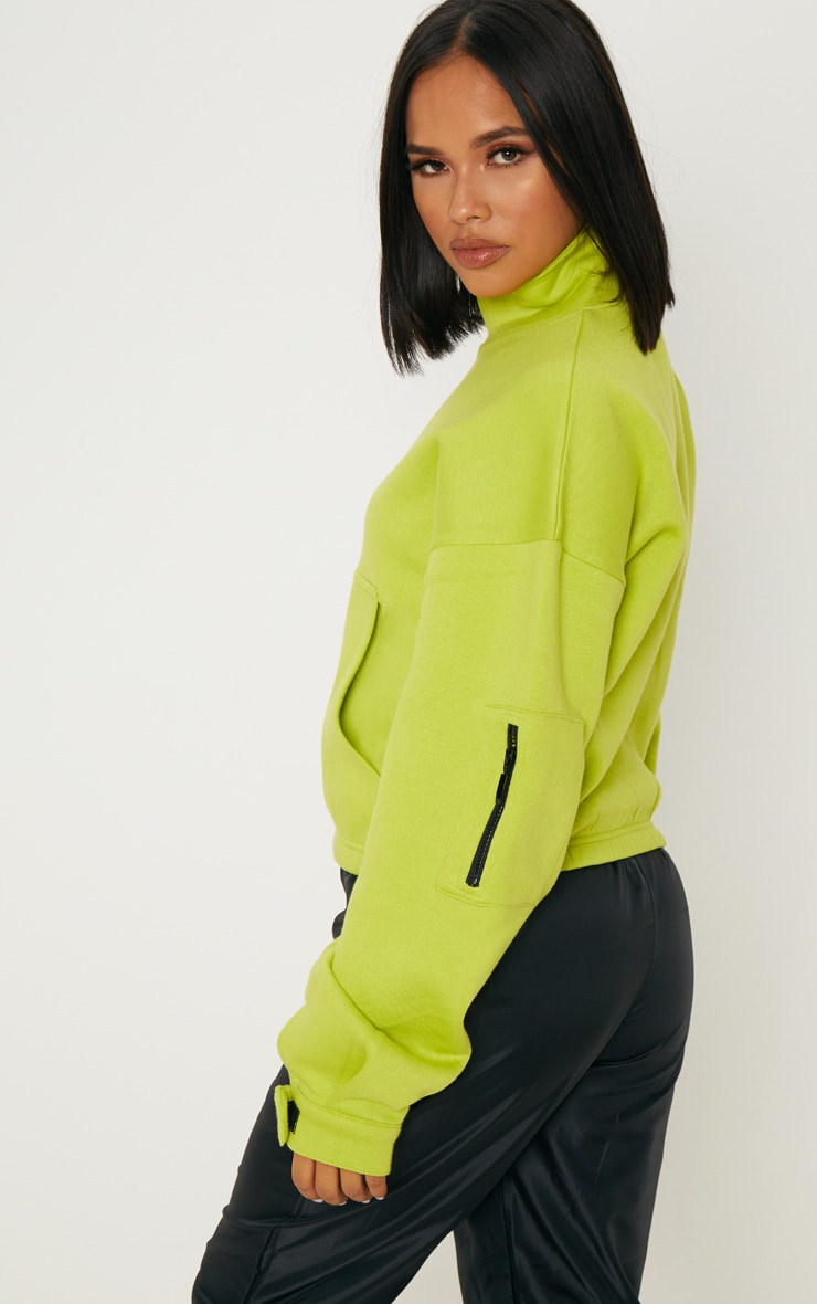 Sweat oversized vert citron à zip frontal 2