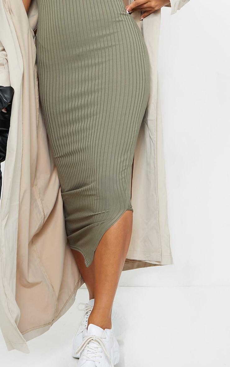 Olive Khaki Ribbed Wrap Front Strappy Midi Dress 4