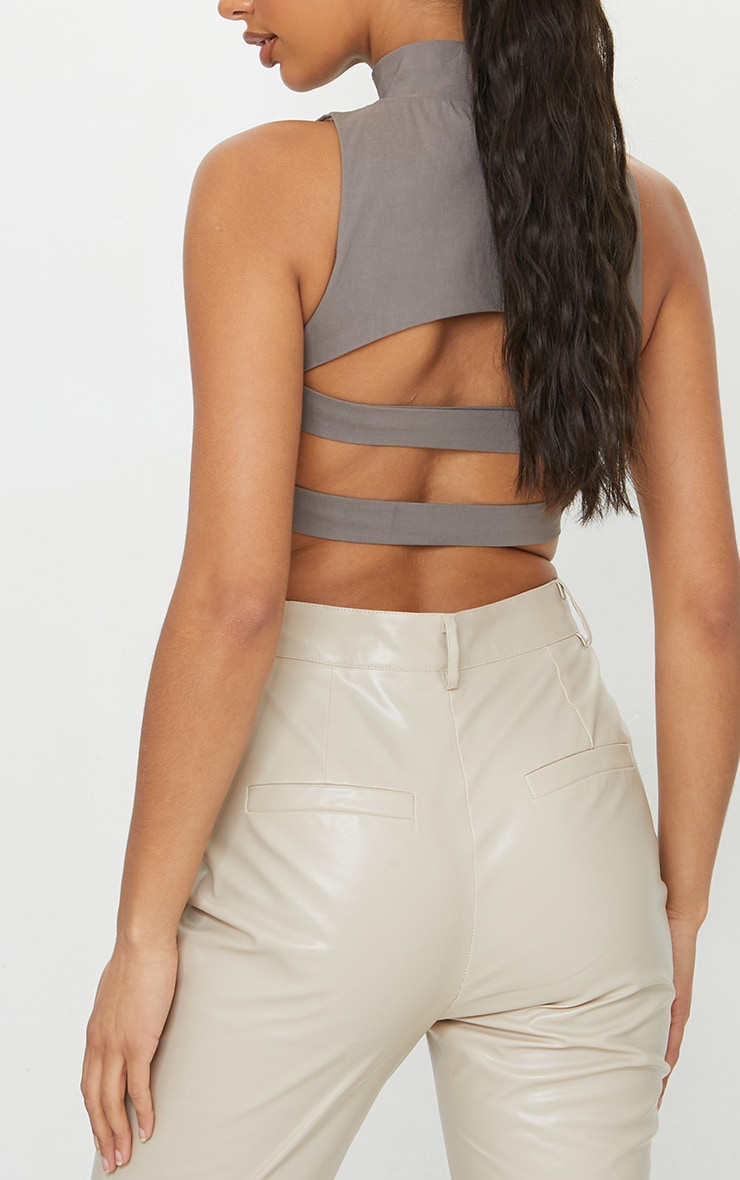 Taupe Bengaline High Neck Back Cut Out Crop Top 4