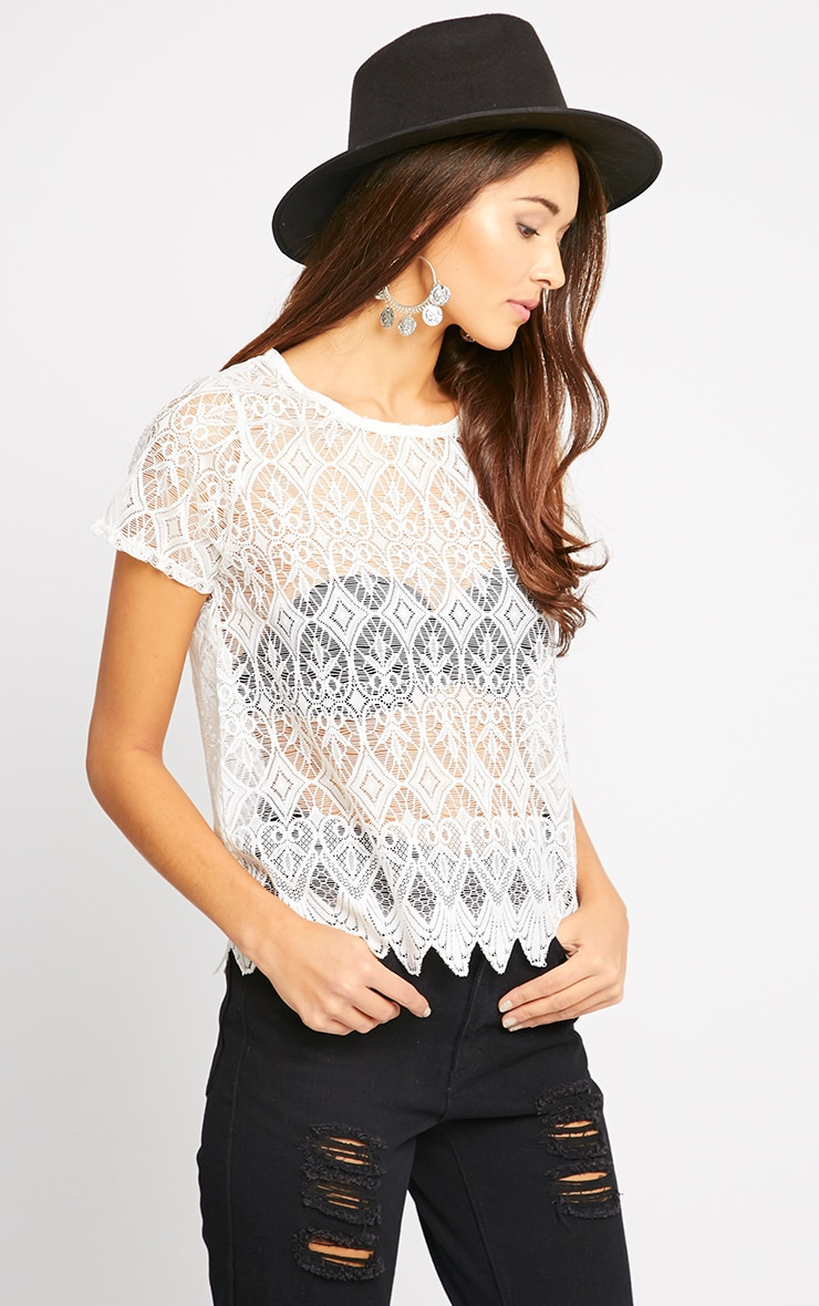 Nina Cream Scallop Trim Lace Top  1