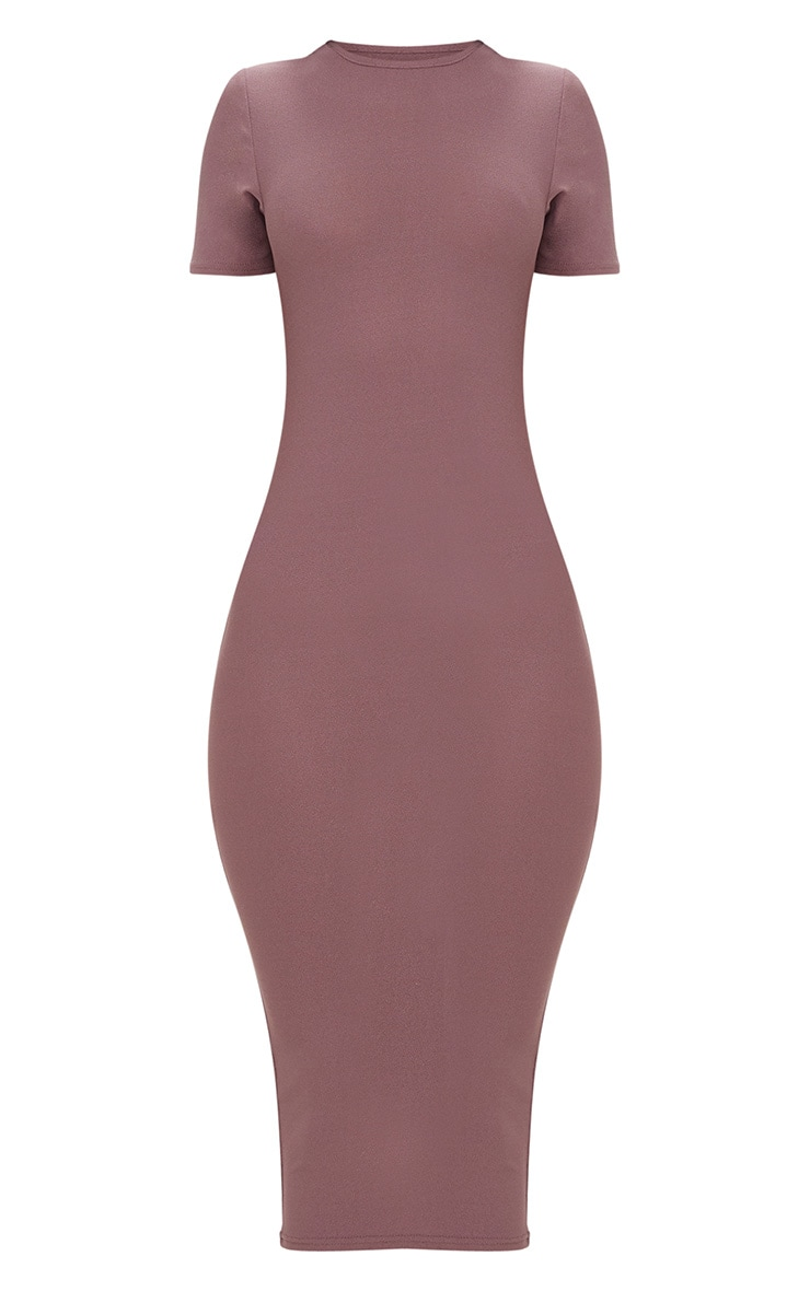 Dark Mauve Cap Sleeve Midi Dress  3