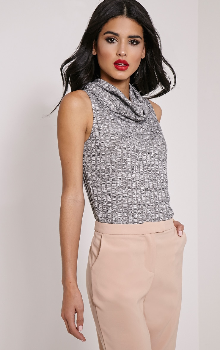 Dione Grey Marl Knitted Roll Neck Top 4