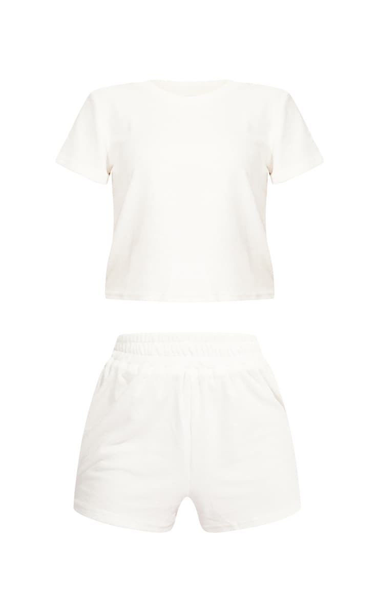 White Towelled Top And Shorts Pj Set 5