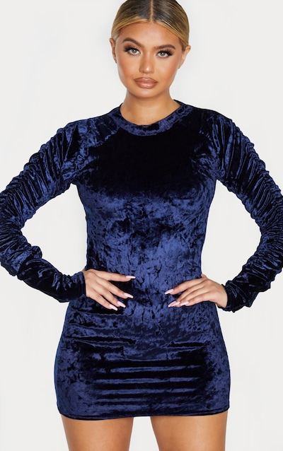 Navy Velvet Ruched Sleeve High Neck Bodycon Dress