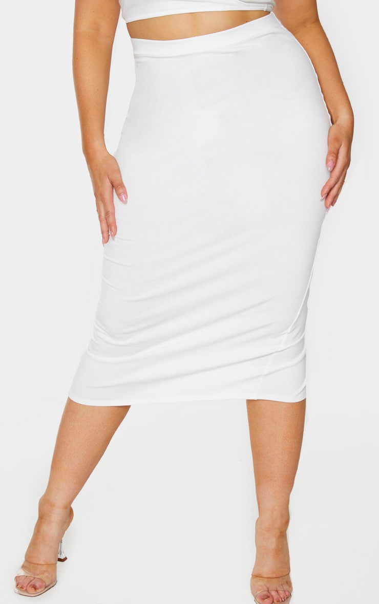 Plus Cream Cotton Split Detail Midi Skirt 2