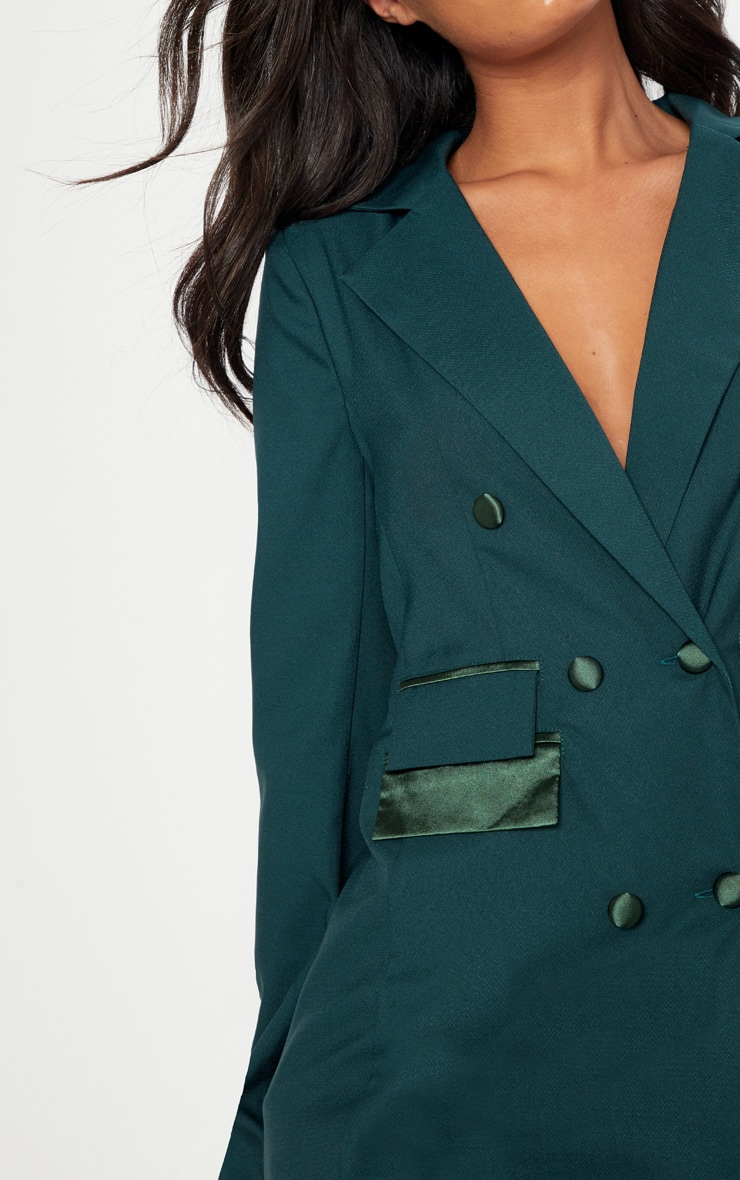 Dark Green Triple Breasted Oversized Blazer 5