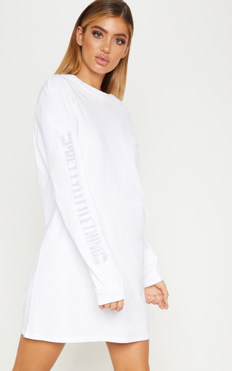 PRETTYLITTLETHING White Oversized Long Sleeve T Shirt Dress 1
