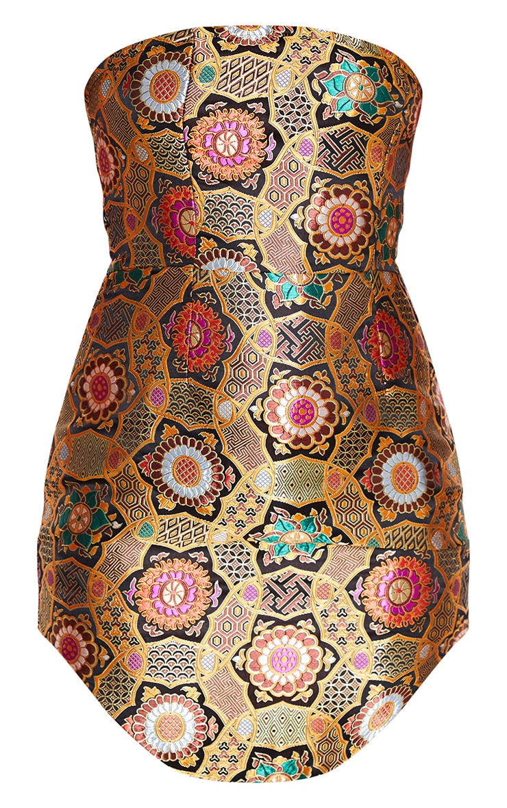 Gold Jacquard Bandeau Curve Hem Bodycon Dress 3