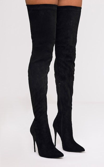 59724caaadf Emmi Black Faux Suede Extreme Thigh High Heeled Boots