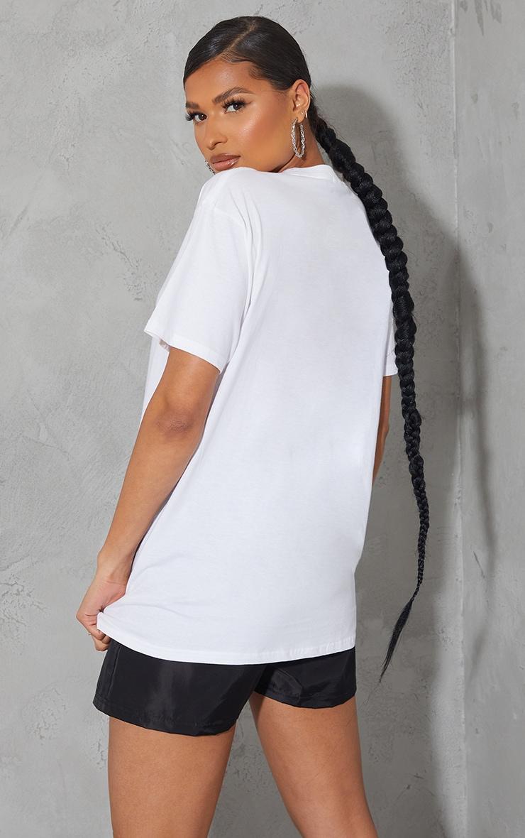 PRETTYLITTLETHING White Oversized Slogan T Shirt 2