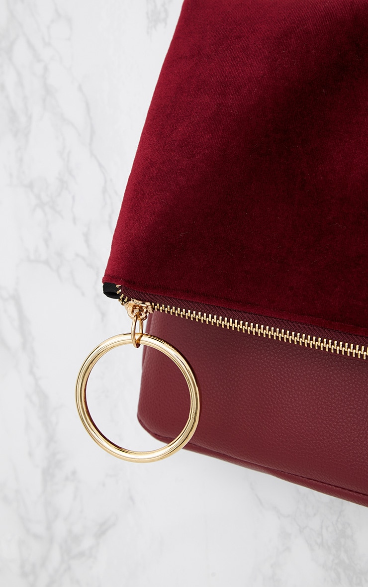 Burgundy Velvet Fold over Clutch Bag 5