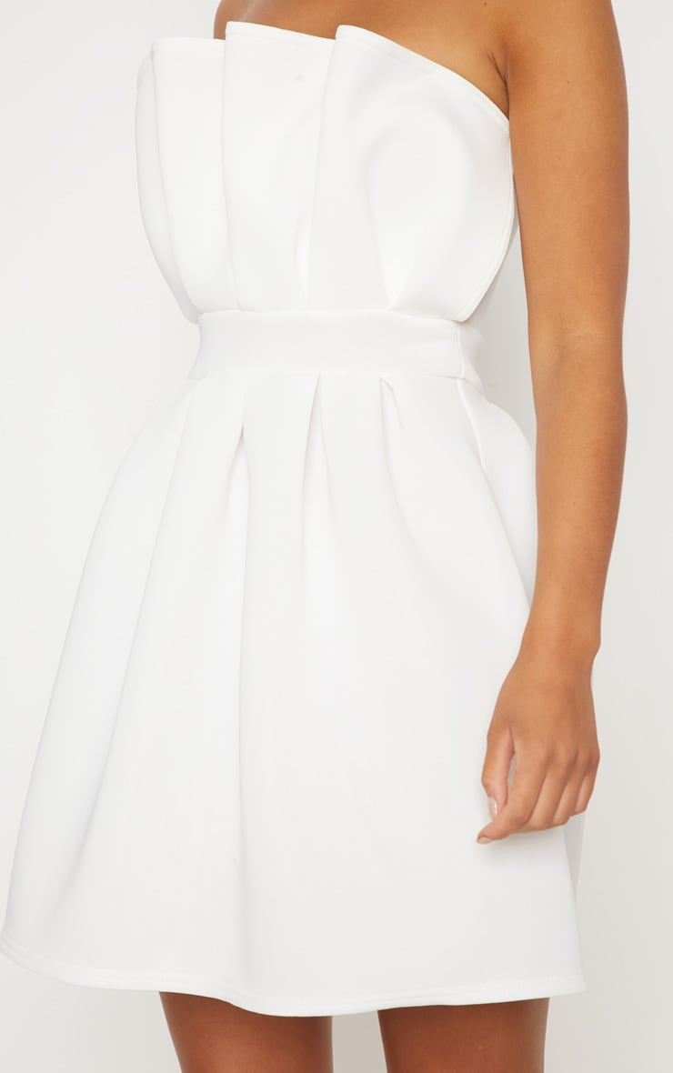 White Bonded Scuba Ruffle Detail Skater Dress 5