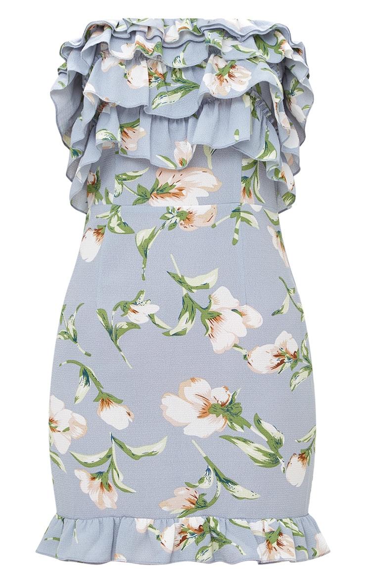 Grey Floral Print Ruffle Detail Bandeau Bodycon Dress  3