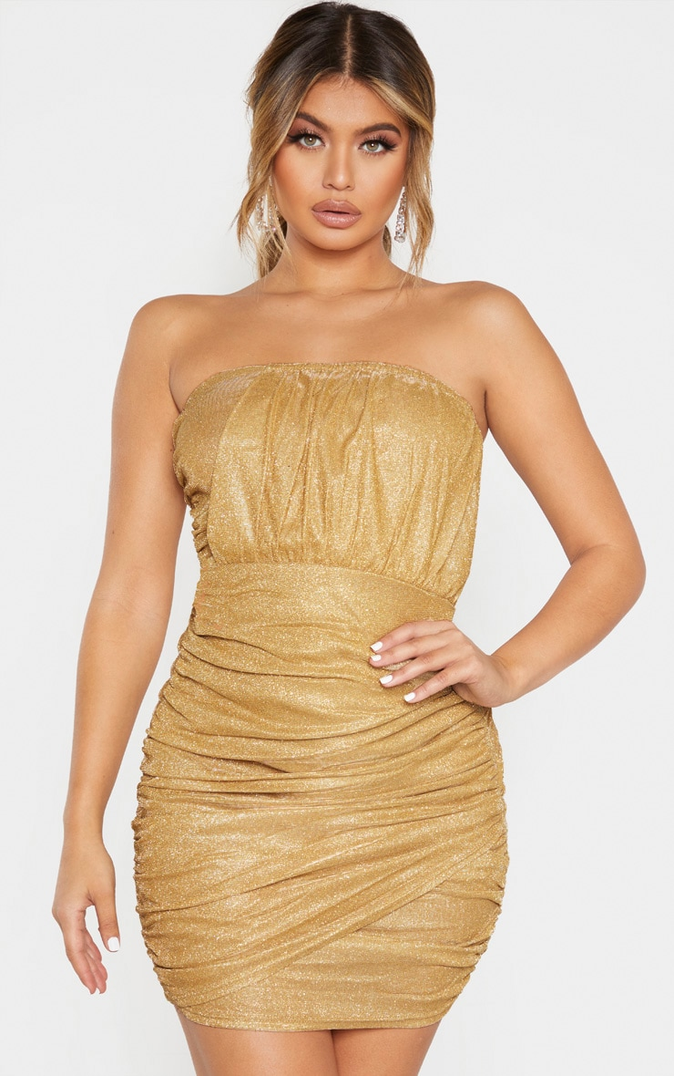 Gold Textured Metallic Glitter Ruched Bandeau Bodycon Dress  1