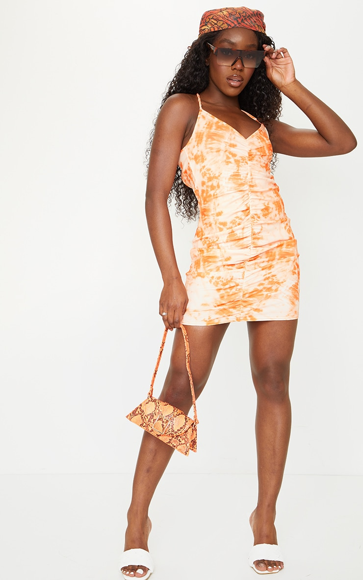 Orange Tie Dye Strappy Ruched Bodycon Dress 3