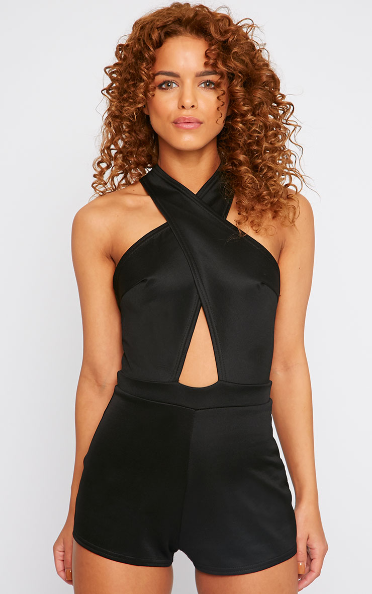 Zada Black Crossover Halterneck Playsuit 1