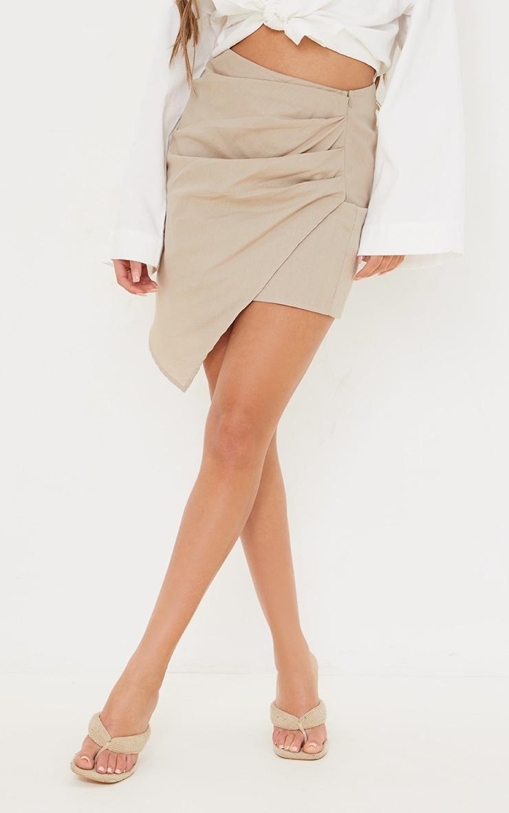 Taupe Pleated Linen Look Mini Skirt 2