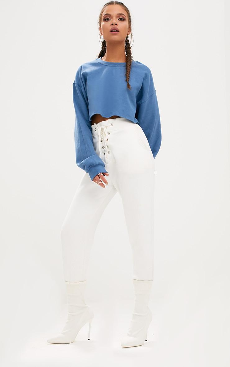 Recycled Dusty Blue Crop Oversized Sweatshirt 3