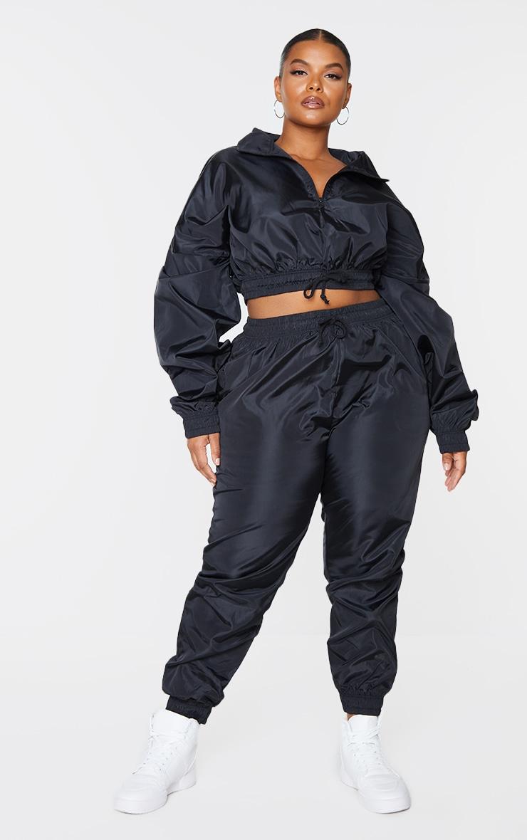Plus Black Shell Half Zip Jacket 1