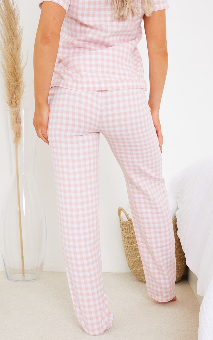 Pale Pink Mix And Match Tie Waist Check PJ Trousers 3