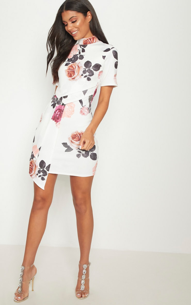 White Floral High Neck Pleated Detail Shift Dress 4
