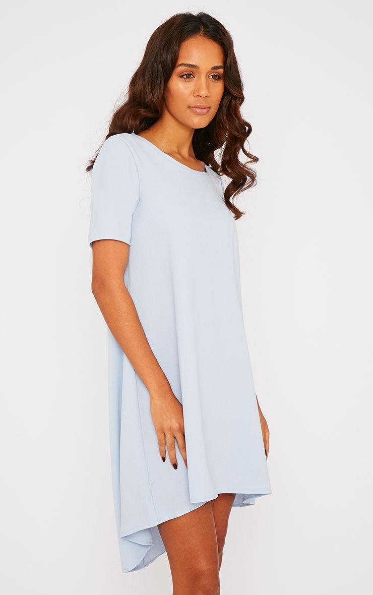 Naina Powder Blue Crepe Step Hem Loose Fit Shift Dress 4