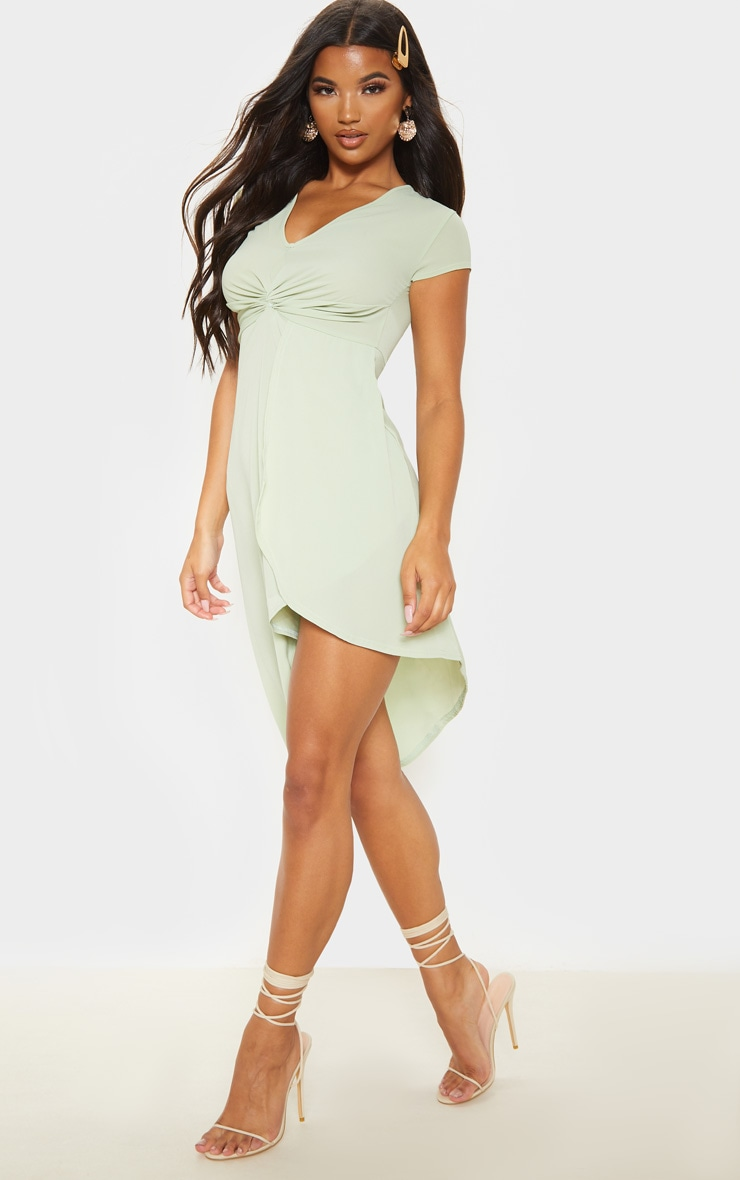 Sage Khaki Twist Front Asymmetric Hem Midi Dress 4