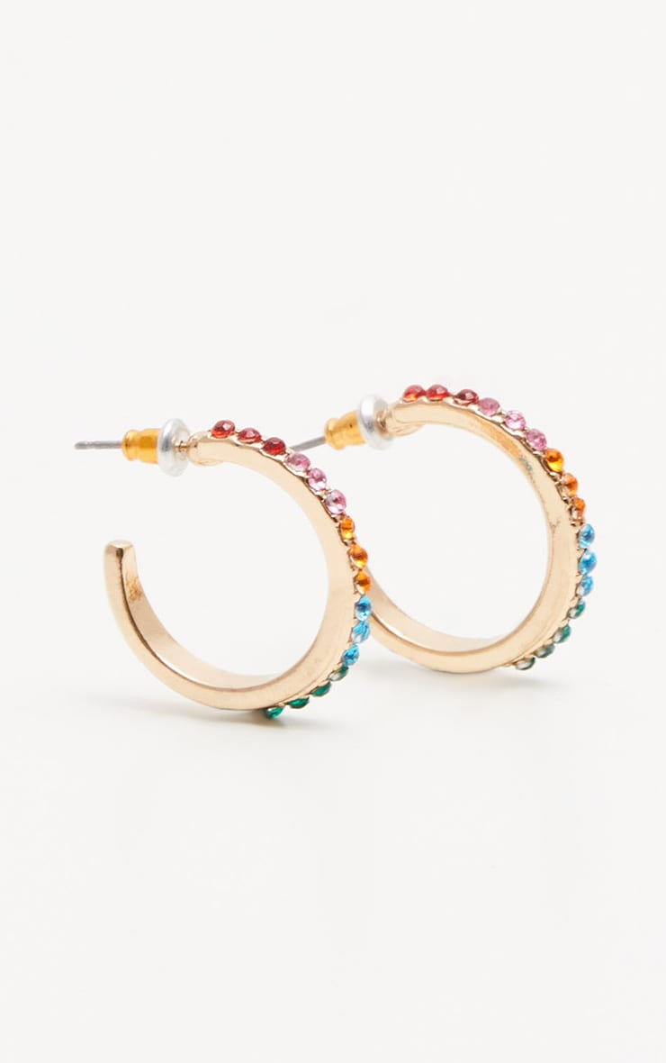Multi Colour Gem Hoop Earrings 2