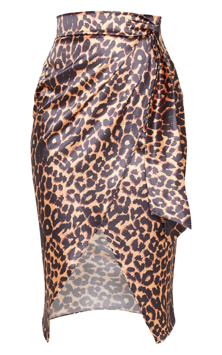 Tan Leopard Print Satin Wrap Midi Skirt 3