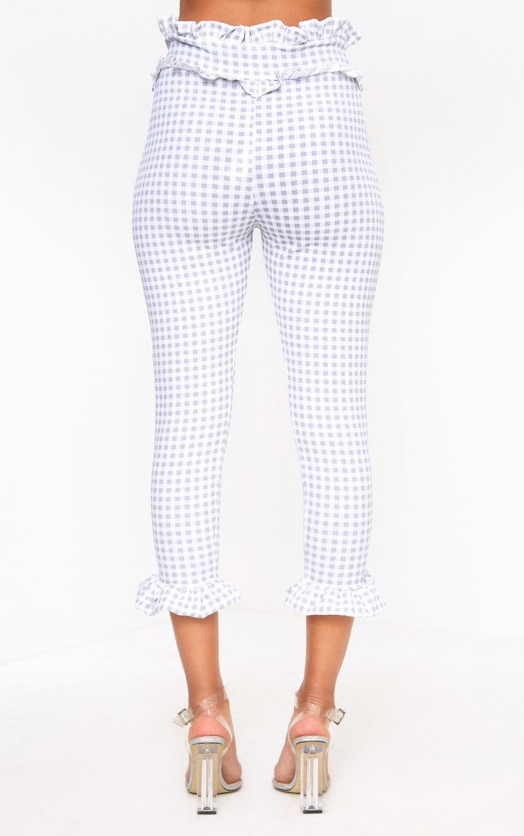 Keren Grey Gingham Frill Trim Trousers 4