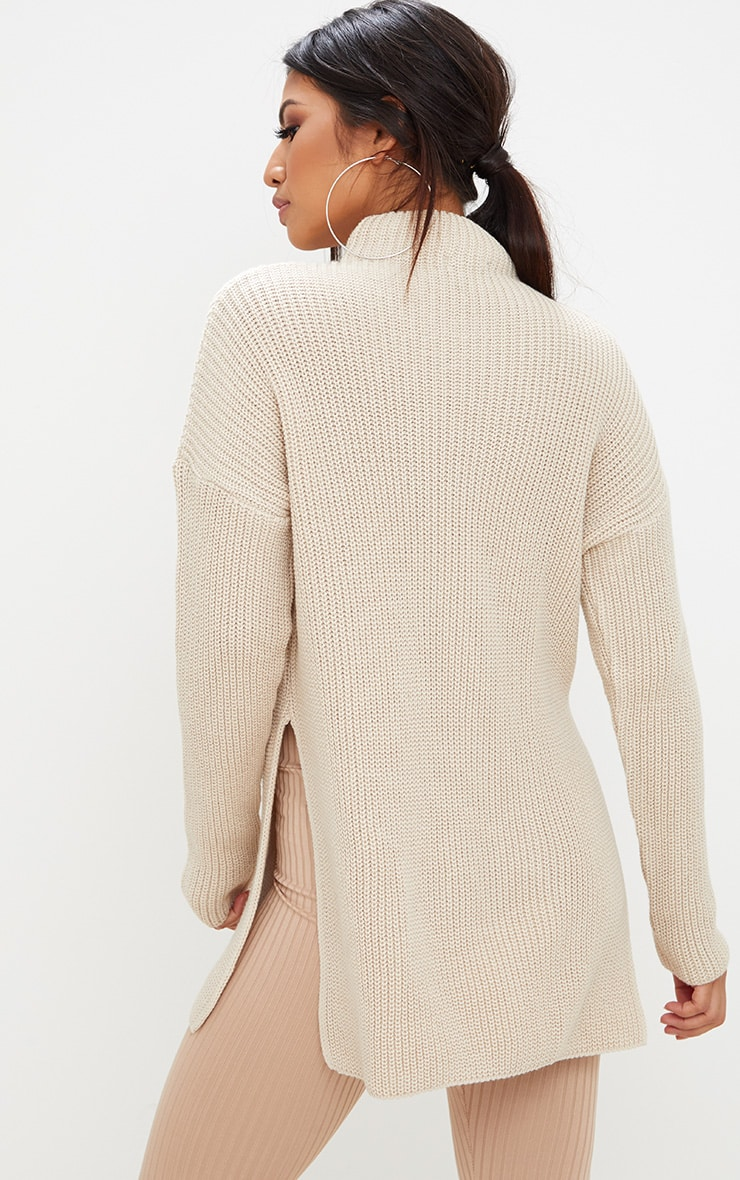 Stone High Neck Knitted Oversized Jumper 2