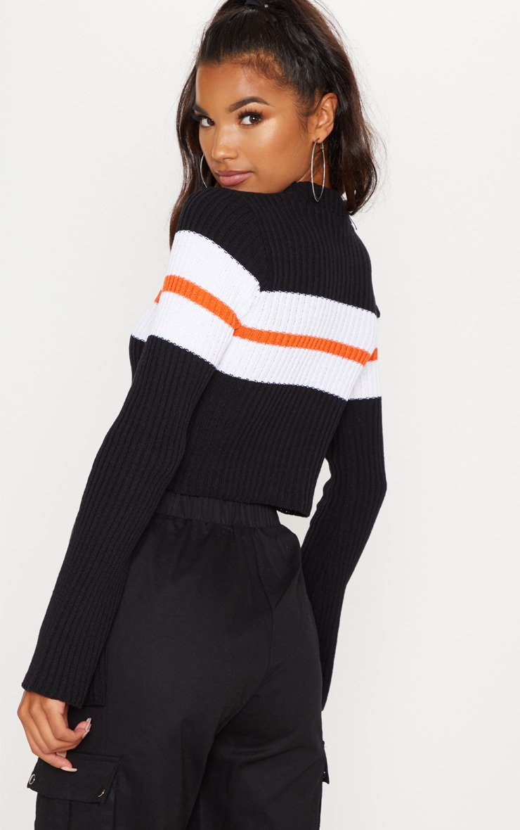 Black Striped Flared Sleeve Cropped Jumper  2