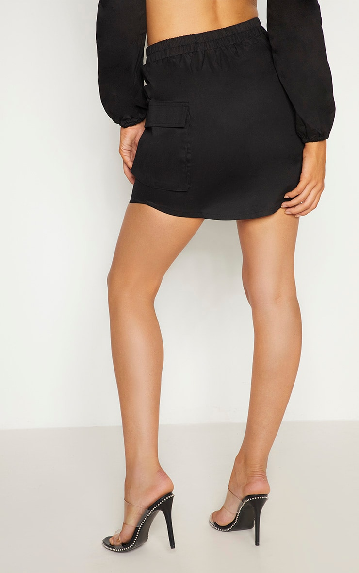 Black Lace Front Cargo Mini Skirt 4