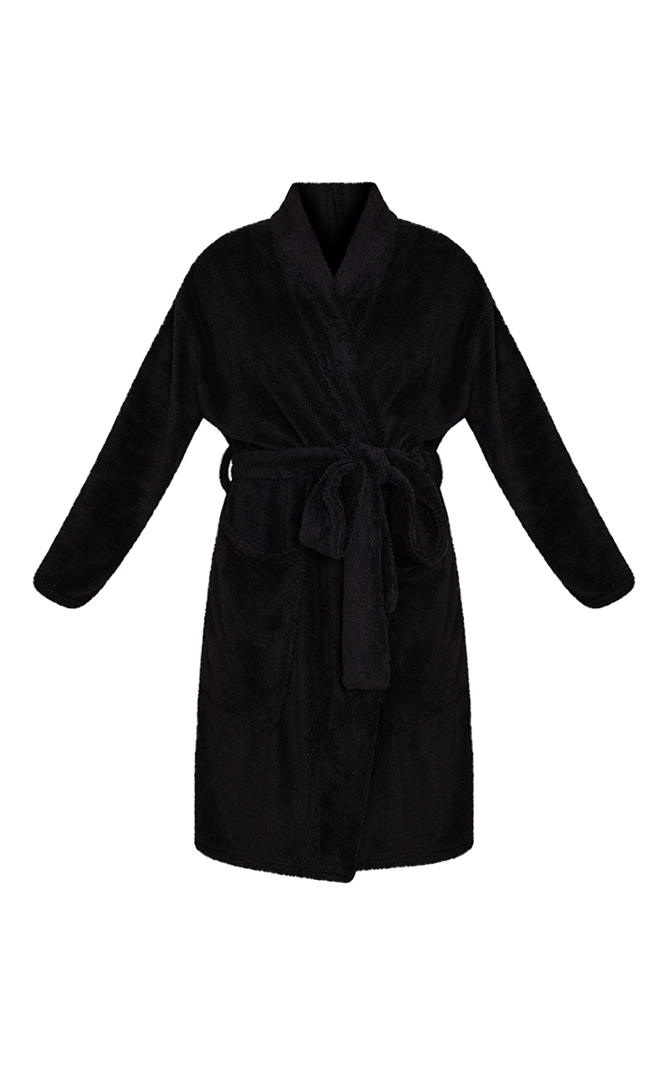 Black Oversized Fluffy Dressing Gown 5