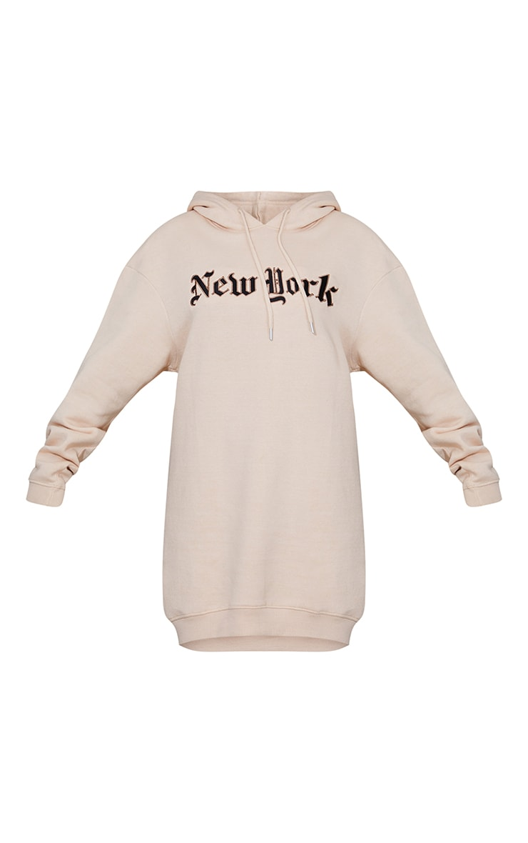 New York Stone Gothic Slogan Sweatshirt Dress 5